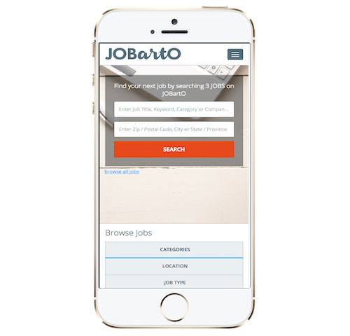 White Apple iPhone displaying the homepage of the JOBartO job board platform